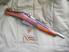 "Mosin Nagant rifle cut down to pistol length, nicknamed the ""Obrez"""