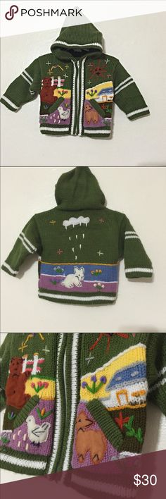 """World of Wool baby critters wool zip-up hoodie 10.5"""" underarm to underarm & 10.5"""" shoulder to bottom. Made from 100% wool (but not the itchy kind and take it from someone who has very sensitive skin) with adorable felt & yarn critters. There is no size tag so please go by the measurements World of wool Shirts & Tops Sweaters"""