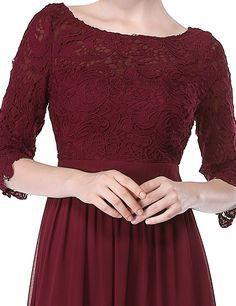 Ever Pretty Womens Illusion Lace Neckline Floor Length Prom Dress 4 US Burgandy