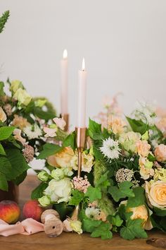 Copper candlesticks amongst green and peach coloured wedding flowers - natural organic wedding inspiration // Jenny Owens Photography // The Natural Wedding Company Wedding Bouquets, Wedding Flowers, Wedding Company, Wedding Table Decorations, Peach Colors, Blue Wedding, Greenery, Wedding Inspiration, Home And Garden