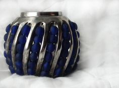 Candle holder Silver with blue Beads Made in India by HalosHome, $5.99