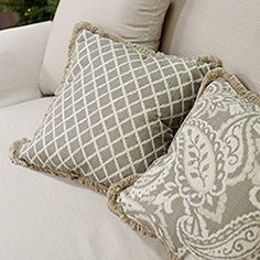 Outdoor Square Pillow in Outdura Juliet Fossil and Lavalier Fossil - Arhaus outdoor Pinterest contest
