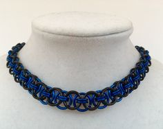 "1/3"" Wide Thin Black / Blue Aluminum Chainmail Metal Choker Collar Necklace - Mens Womens Unisex Steel Silver Nickel Free Chain Fetish Kink by JohnsChainmailShop on Etsy"