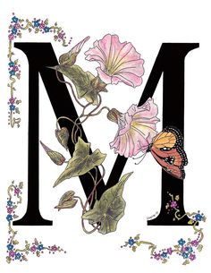 Morning Glory And Monarch Butterfly Painting by Stanza Widen Alphabet Letters Design, Fancy Letters, Alphabet Art, Floral Letters, Letter Art, Butterfly Painting, Butterfly Art, Monarch Butterfly, Creative Lettering