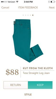 Interested in bold-colored pants.