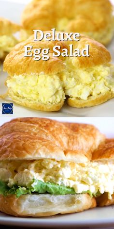 This Classic Egg Salad gets an upgrade with boiled eggs, cream cheese and croissants - making it deluxe! This unique egg salad sandwich is the best and so easy to make! Fudge Recipes, Egg Recipes, Salad Recipes, Dessert Recipes, Cooking Recipes, Recipies, Amish Recipes, Wrap Recipes, Party Desserts