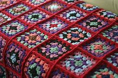 granny square blanket with raised joins.