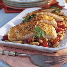 Mediterranean Salmon With White Beans        (lean protein)