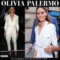 Olivia Palermo in white belted jumpsuit #fashionweek #frontrow #fashion #style #ralphandrusso #hautecouture