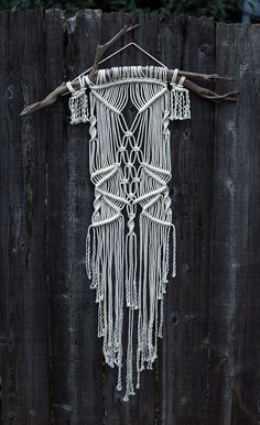 Large Macramé Wall Hanging on Drift Wood by FreeCreatures on Etsy, $60.00