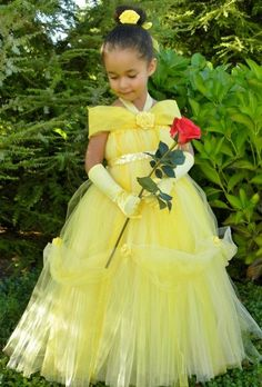 Tutu Dress - Yellow - Princess Belle - 12 Month to 2 Toddler Girl Diy Tutu, No Sew Tutu, Princess Tutu Dresses, Girls Pageant Dresses, Girls Party Dress, Flower Girls, Yellow Flower Girl Dresses, Yellow Dress, Princesa Tutu