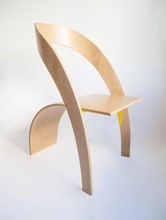 The 'Counterpoise' plywood chair uses design and architecture to make the balanced form.  furniture design, bent plywood, steamed plywood, minimal design