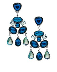 Our lustrous chandelier earrings shine with beautiful blue stones. 17.49 was35.00