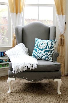 furniture - A newly painted chair! Paint the upholstery to an old dingy chair to make it fresh and new! Painting Patio Furniture, Furniture Projects, Painted Furniture, Diy Furniture, Furniture Village, Furniture Stores, Outdoor Furniture, Refurbished Furniture, Upholstered Furniture