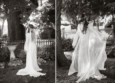 """""""woodland free spirit"""" gown for Ms. Maggie // Sheer silk organza kimono with low-cut back, button detail, and hand-cut lace edging on sleeve and train. Worn with silk charmeuse slip dress with low-cut back and braided straps. Matching silk organza veil edged with vintage lace // photography : www.brubakerphoto.com"""