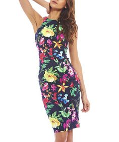 Navy Tropical Floral Zip-Back Dress - Women