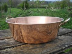 French Vintage Copper Jam Jelly Preserves Pan kilos ozs Solid Copper Cast Brass Handles Hammered Bottom by NormandyKitchen on Etsy Pan Hanger, Copper Casting, Copper Pans, The Ultimate Gift, Copper Kitchen, Apple Butter, Brass Handles, Normandy, Antique Copper