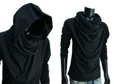 New Men Black Cloak longsleeve turtle cowl neck hoodie shirt top size S M L XL