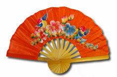 hand fans   rayon hand fan orange code no rhf 001 small size hand fan depicting a ...