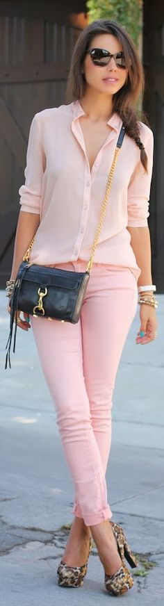 Cute pink outfit with black heels                                                                                                                                                      More
