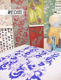 bespoke hand screen printed textiles by surface desih=gner justyna medon www.justynamedon.com www.redpoppyhome.co.uk #printed #textiles #handscreenprinted