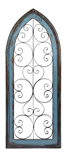Add some texture to your walls with our Katelyn 2-Tone Arch Wood and Metal Wall Plaque! This piece follows the eclectic trend of the Boheme Luxe Collection with its distressed turquoise wooden finish and black scroll centerpiece.