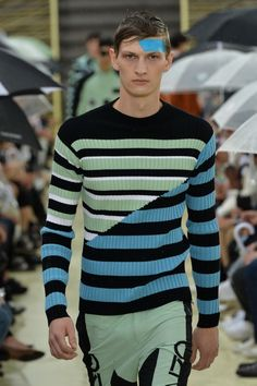 Pastel palettes and spliced striped knits at Kenzo