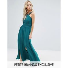 Little Mistress Petite Maxi Dress With Embellished Strap (€86) ❤ liked on Polyvore featuring dresses, blue, ruched dress, pleated maxi dress, scoop-neck dresses, strappy dress and scoop neck dress