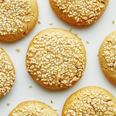 Think of these tahini cookies as grown-up peanut butter cookies. The tahini lends a creamy, earthy flavor. Tahini Cookies Recipe, Halvah Recipe, Hummus Recipe, Paleo Cookies, Bar Cookies, Sesame Seeds Recipes, Biscuits, Roasted Strawberries, Best Cookie Recipes