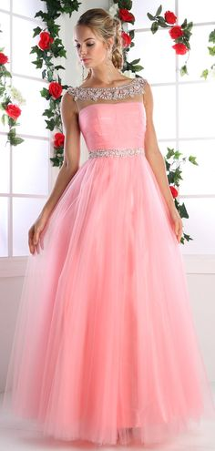 Prom Dresses Evening Dresses by CINDERELLA<BR>addPC908<BR>Off shoulder ball gown with beaded trim on illusion scoop neckline.