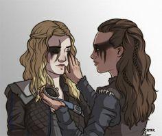 Clarke helping Lexa with her war paint fan art version 2