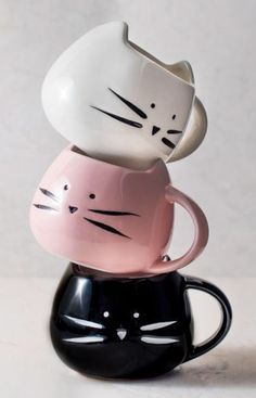 Cute black kitty cat coffee mug - premium size ceramic cup also available as a pink or white cat. Has adorable heart nose & whiskers. Perfect gift for someone who loves cats and coffee or tea. kawaii style home decor. Cute cats, cute kittens, kitty cats funny, cat stuff, cat lover gifts, cat lady humor, lolcats. Meow. This is an affiliate link.