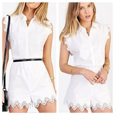 Kimchi Blue White Crochet-trim Romper small Kimchi Blue White Crochet-trim Romper, size small and new with tags attached 20% off when you purchase more than 1 item from my closet  trades... Perfect for a festival or Coachella✌ Urban Outfitters Pants Jumpsuits & Rompers