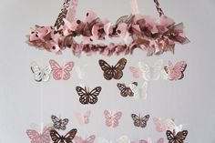 pink and brown nursery | Butterfly Mobile - Pink, Brown and White Nursery Mobile, Baby Shower ...