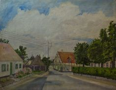 Bondebyen i Kongens Lyngby cirka 1962 Painting, Art, Anchor, Art Background, Painting Art, Kunst, Paintings, Performing Arts, Painted Canvas