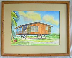 Painting Architectural Vintage Mid Century Modern Tropical Beach House Brion | eBay