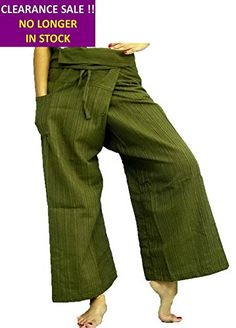 Striped Red Men Women Thai Fisherman Pants Cotton Style Loongcha Yoga Pants