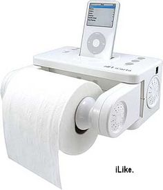 "CLICK image to see where to buy. A great addition to any #mancave, the iCarta bluetooth iPod/iPhone holder with dunny roll holder.   The wall-mounted holder has four ""integrated high-performance moisture-free speakers"" and of course it charges your device as you pinch a loaf.  When it first came out this was reviewed as a ""strange"" product, but now it's clearly not so strange as we look at our daily habits in this era of digital device addiction. #mantips"