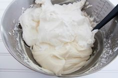 Perfect  Cupcake Frosting ~ Cream Cheese, softened - powdered sugar - cold heavy whipping cream - and vanilla extract.