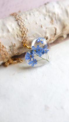Golden Hydrangea Pendant Heart Real Flower Resin Handmade Cord Necklace