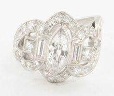 Vintage Art Deco 900 Platinum Diamond Cocktail Ring Estate Fine Jewelry Heirloom 8.25 $3195