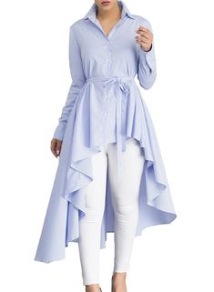 Amazing piece has multiple styles concentrates in one piece, we can see a shirt, a dress and a tunic from this Blue Striped Lapel Shirt High Low Belted Blouse T Blouse Dress, Long Blouse, Blouse Styles, Blouse Designs, Chic Dress, Long Tops, Blouses For Women, Ladies Blouses, Ideias Fashion