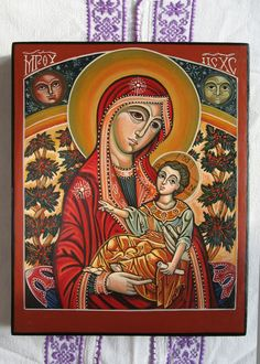 Mother of God with The Child Jesus. Byzantine icon handmade painted. Orthodox icon Made only on demand