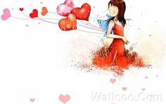Kim Jong Bok Illustrations(Vol.03) - Cartoon Cute Fairy Girl  - Art Illustration : Cute Cartoon Girl  With Colourful Heart Balloon 26