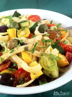 Light and Fresh Farmers' Market Pasta Toss ~ Fresh Fettuccine, Lots of Veggies, Olives and Lemon