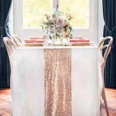 Rose Gold Sequin Table Runner