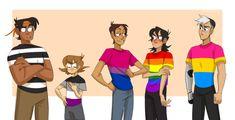 Straight!Hunk, Asexual!Pidge, Bisexual!Lance, Gay!Keith, Pansexual!Shiro