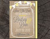 mason jar save the date on Etsy, a global handmade and vintage marketplace.