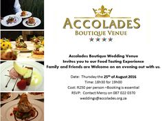 The event is this Thursday. Time is running out to book! Ladies, gents you are in for a treat only we can provide.