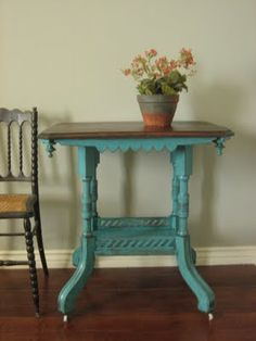 end table & turquoise finish.